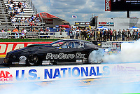 Sept 9, 2012; Clermont, IN, USA: NHRA pro mod driver Leah Pruett during the US Nationals at Lucas Oil Raceway. Mandatory Credit: Mark J. Rebilas-