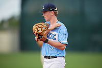 Tommy Splaine (7) during the WWBA World Championship at Lee County Player Development Complex on October 10, 2020 in Fort Myers, Florida.  Tommy Splaine, a resident of Los Gatos, California who attends Los Gatos High School, is committed to Arizona.  (Mike Janes/Four Seam Images)