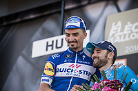 Alejandro Valverde (ESP/Movistar) congratulating race winner Julian Alaphilippe (FRA/Quick-Step Floors)<br /> <br /> 82nd La Flèche Wallonne 2018<br /> 1 Day Race: Seraing - Huy (198,5km)