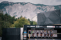 Team Sunweb on the start ramp, ready to roll.<br /> <br /> UCI WOMEN'S TEAM TIME TRIAL<br /> Ötztal to Innsbruck: 54.5 km<br /> <br /> UCI 2018 Road World Championships<br /> Innsbruck - Tirol / Austria
