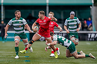 George Spencer of Jersey Reds (2nd left) during the Championship Cup QF match between Ealing Trailfinders and Jersey Reds at Castle Bar, West Ealing, England  on 22 February 2020. Photo by David Horn.