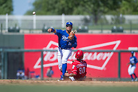 Kansas City Royals second baseman Gabriel Cancel (14) attempts a double play as Miguel Hernandez (90) slides into second base during an Instructional League game against the Cincinnati Reds on October 2, 2017 at Surprise Stadium in Surprise, Arizona. (Zachary Lucy/Four Seam Images)