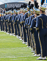The Pitt band lines up before the team enters the field. Iowa Hawkeyes defeated the Pitt Panthers 24-20 at Heinz Field, Pittsburgh Pennsylvania on September 20, 2014.