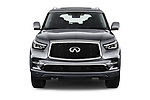 Car photography straight front view of a 2020 Infiniti QX80 Luxe 5 Door SUV