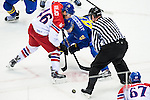 (L) David Krejci of Czech Republic being followed by (R) Jimmie Ericsson of Sweden during the match between Sweden vs Czech Republic during their Men's Ice Hockey Preliminary Round Group C game on day five of the 2014 Sochi Olympic Winter Games at Bolshoy Ice Dome on February 12, 2014 in Sochi, Russia. Photo by Victor Fraile / Power Sport Images