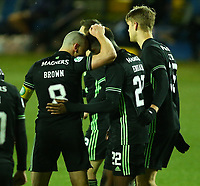 2nd February 2021; Rugby Park, Kilmarnock, East Ayrshire, Scotland; Scottish Premiership Football, Kilmarnock versus Celtic; Odsonne Edouard of Celtic celebrates with Scott Brown of Celtic after he makes 2-0 from the penalty spot in the 53rd minute
