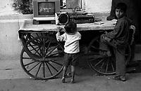 11.2010 Pushkar (Rajasthan)<br /> <br /> Children watching tv in the street.<br /> <br /> Enfants regardant la télé dans la rue.