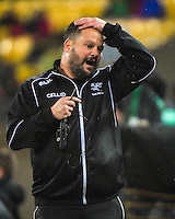 Sharks defence coach Omar Mouneimne during the Super Rugby quarterfinal match between the Hurricanes and Sharks at Westpac Stadium, Wellington, New Zealand on Saturday, 23 July 2016. Photo: Dave Lintott / lintottphoto.co.nz