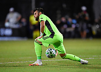 LAKE BUENA VISTA, FL - JULY 26: Quentin Westberg of Toronto FC rolls the ball during a game between New York City FC and Toronto FC at ESPN Wide World of Sports on July 26, 2020 in Lake Buena Vista, Florida.