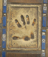Hand print of the film director, David Lynch, outside the Palais des Festivals et des Congres, Cannes, France.