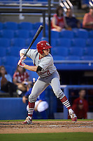 Palm Beach Cardinals designated hitter Blake Drake (8) at bat during the second game of a doubleheader against the Dunedin Blue Jays on July 31, 2015 at Florida Auto Exchange Stadium in Dunedin, Florida.  Dunedin defeated Palm Beach 4-0.  (Mike Janes/Four Seam Images)