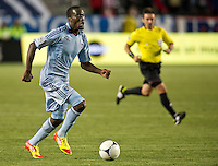 CARSON, CA - April 1, 2012: CJ Sapong (17) of KC during the Chivas USA vs Sporting KC match at the Home Depot Center in Carson, California. Final score Sporting KC 1, Chivas USA 0.