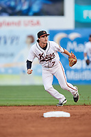 Frederick Keys second baseman Preston Palmeiro (7) during the second game of a doubleheader against the Lynchburg Hillcats on June 12, 2018 at Nymeo Field at Harry Grove Stadium in Frederick, Maryland.  Frederick defeated Lynchburg 8-1.  (Mike Janes/Four Seam Images)