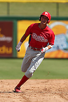 Philadelphia Phillies third baseman Mitch Walding #16 during an Instructional League game against the Pittsburgh Pirates at Bright House Field on October 13, 2011 in Clearwater, Florida.  (Mike Janes/Four Seam Images)