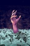 Illustrative image of human hand amidst pills representing drug abuse