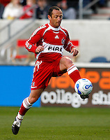 Chicago Fire forward Pascal Bedrossian (13) takes a shot on goal.  FC Dallas defeated the Chicago Fire 2-1 at Toyota Park in Bridgeview, IL on May 17, 2007.