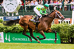 LOUISVILLE, KY - MAY 06: Arkow with Mike Smith win the American Turf on Kentucky Derby Day at Churchill Downs on May 6, 2017 in Louisville, Kentucky. (Photo by Sue Kawczynski/Eclipse Sportswire/Getty Images)