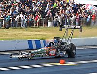 Jun 6, 2015; Englishtown, NJ, USA; NHRA top fuel driver Terry McMillen during qualifying for the Summernationals at Old Bridge Township Raceway Park. Mandatory Credit: Mark J. Rebilas-