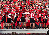 ATHENS, GA - SEPTEMBER 18: Georgia fans cheer there team before a game between South Carolina Gamecocks and Georgia Bulldogs at Sanford Stadium on September 18, 2021 in Athens, Georgia.