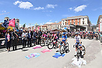 The leaders jerseys lined up for the start of Stage 10 of the 2021 Giro d'Italia, running 139km from L'Aquila to Foligno, Italy. 17th May 2021.  <br /> Picture: LaPresse/Gian Mattia D'Alberto | Cyclefile<br /> <br /> All photos usage must carry mandatory copyright credit (© Cyclefile | LaPresse/Gian Mattia D'Alberto)