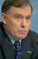 OTTAWA , November 17th 2001 FILE PHOTO<br /> <br /> Horst Kohler ;  Managing Director of the International Monetary Fund (IMF)listen to a question  during  the closing press conference of the IMF meeting taking place on the G-20 Summit 2nd day, November 17th, 2001 in Ottawa, CANADA<br /> <br /> (Photo by Pierre Roussel /I Photo)<br /> ON SPEC<br /> NOTE l Nikon D-1 jpeg opened with quimage icc profile, saved in Adobe 1998 RGB.