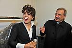 FRANCESCA IMMACOLATA CHAOUQUI CON MONSIGNOR LUCIO ANGEL VALLEJO BALDA<br /> TEATRO PARIOLI ROMA 2014