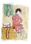 Illustration of woman using landline phone in house