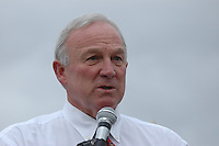 Monday December 8, 2008:  University City, San Diego California.  Mayor Jerry Sanders addresses the media as at the scence where a military jet crashed into a residential home killing at least 3 civilians.  At approximately 11:59am a USMC F-18 fighter jet encountered trouble over this residential area of the city and the pilot ejected leaving his aircraft to crash into a residential neighborhood.