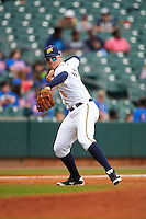 Montgomery Biscuits third baseman Richie Shaffer (8) throws to first during a game against the Jackson Generals on April 29, 2015 at Riverwalk Stadium in Montgomery, Alabama.  Jackson defeated Montgomery 4-3.  (Mike Janes/Four Seam Images)