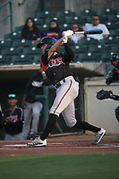 Jarryd Dale (2) of the Lake Elsinore Storm bats against the Inland Empire 66ers at San Manuel Stadium on June 15, 2021 in San Bernardino, California. (Larry Goren/Four Seam Images)