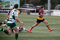 Josh Hallet of Ampthill RUFC during the Greene King IPA Championship match between Ealing Trailfinders and Ampthill RUFC being played behind closed doors due to the COVID-19 pandemic restrictions at Castle Bar , West Ealing , England  on 13 March 2021. Photo by Alan Stanford / PRiME Media Images