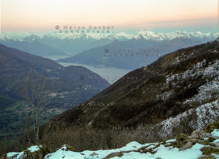 Scorcio verso il Lago di Lugano e la Svizzera dal Monte Tremezzo --- Glimpse of Lake Lugano and Switzerland from Mount Tremezzo
