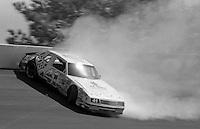 Jim Bown (41) crash accident Motorcraft Quality Parts 500 at Atlanta International Raceway in Hampton , GA on March 19, 1989.  (Photo by Brian Cleary/www.bcpix.com)