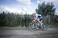 Later race winner Aimé De Gendt (BEL/Wanty Gobert) riding a off-road sector. <br /> <br /> Antwerp Port Epic 2019 <br /> One Day Race: Antwerp > Antwerp 187km<br /> <br /> ©kramon