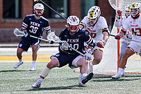 College Park, MD - February 15, 2020: Penn Quakers attack Dylan Gergar (40) gets pushed by Maryland Terrapins defender John Geppert (20) during the game between Penn and Maryland at  Capital One Field at Maryland Stadium in College Park, MD.  (Photo by Elliott Brown/Media Images International)