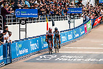 World Champion Peter SAGAN (SVK) of Bora-Hansgrobe wins the 2018 Paris-Roubaix, 2nd place for Silvan DILLIER (SUI) of AG2R La Mondiale during the 2018 Paris-Roubaix race, Velodrome Roubaix, France, 8 April 2018, Photo by Thomas van Bracht / PelotonPhotos.com | All photos usage must carry mandatory copyright credit (Peloton Photos | Thomas van Bracht)