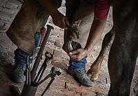 VILLAVICENCIO - COLOMBIA. 13-10-2018: Un herrero trabaja durante el 22 encuentro Mundial de Coleo en Villavicencio, Colombia realizado entre el 11 y el 15 de octubre de 2018. / A blacksmith woks during the 22 version of the World  Meeting of Coleo that takes place in Villavicencio, Colombia between 11 to 15 of October, 2018. Photo: VizzorImage / Gabriel Aponte / Staff