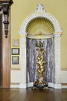BNPS.co.uk (01202) 558833<br /> Pic: NT/AndreasVonEinsiedel/BNPS<br /> <br /> Giltwood candelabra supported by tortoises in the saloon at Kingston Lacy, Dorset. <br /> <br /> Slow and steady wins the race...<br /> <br /> A set of bronze tortoises stolen from a country mansion have finally been returned... 29 years later.<br /> <br /> The bronze sculptures based on the wealthy 19th century owner's pet were stolen from Kingston Lacy in Dorset in 1992 and reported to the police but never found until a savvy historian spotted one up for auction recently.<br /> <br /> Following the trail, the National Trust traced the tortoise to an antiques dealer, who had acquired the set from a scrap metal dealer, completely unaware of their history.<br /> <br /> The four missing sculptures have finally been returned to Kingston Lacy and gone on display.