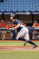 Tampa Bay Rays outfielder Thomas Milone (27) during an Instructional League game against the Boston Red Sox on September 25, 2014 at Tropicana Field in St. Petersburg, Florida.  (Mike Janes/Four Seam Images)