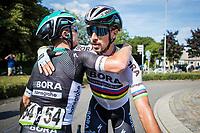 World Champion Peter Sagan (SVK/Bora Hansgrohe) being congratulated by teammates.<br /> <br /> Binckbank Tour 2017 (UCI World Tour)<br /> Stage 1: Breda (NL) > Venray (NL) 169,8km