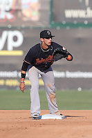 Juan Perez #1 of the Bakersfield Blaze during a game against the Inland Empire 66ers at San Manuel Stadium on August 21, 2014 in San Bernardino, California. Inland Empire defeated Bakersfield, 3-1. (Larry Goren/Four Seam Images)