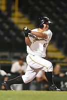 Bradenton Marauders catcher Jin-De Jhang (47) at bat during a game against the Jupiter Hammerheads on April 17, 2014 at McKechnie Field in Bradenton, Florida.  Bradenton defeated Jupiter 2-1.  (Mike Janes/Four Seam Images)