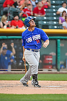 Brooks Conrad (14) of the Las Vegas 51s at bat against the Salt Lake Bees in Pacific Coast League action at Smith's Ballpark on June 25, 2015 in Salt Lake City, Utah.  Las Vegas defeated Salt Lake 20-8.  (Stephen Smith/Four Seam Images)