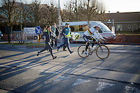 World Champion Peter Sagan (SVK/Tinkoff) heading back to the teambus after podium ceremonies<br /> <br /> E3 - Harelbeke 2016
