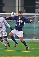 7 November 2012: University of New Hampshire Wildcat Forward David Schlatter, a Sophomore from Marlton, NJ, in action against the University of Vermont Catamounts at Virtue Field in Burlington, Vermont. The Wildcats shut out the top seeded Catamounts 1-0 in the America East playoff matchup. Mandatory Credit: Ed Wolfstein Photo