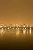 Central Park's Reservoir and Upper West Side Skyline, Illuminated  on a Foggy NIght....New York City, New York State, USA
