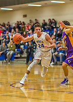 22 November 2015: Yeshiva University Maccabee Guard Shaje Weiss, a Senior from Edison, NJ, in second half action against the Hunter College Hawks at the Max Stern Athletic Center  in New York, NY. The Maccabees defeated the Hawks 81-71 in non-conference play, for their second win of the season. Mandatory Credit: Ed Wolfstein Photo *** RAW (NEF) Image File Available ***