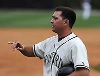 Head coach Todd Interdonato (29) of the Wofford College Terriers in a game against the Appalachian State Mountaineers on April 28, 2012, at Russell C. King Field in Spartanburg, South Carolina. (Tom Priddy/Four Seam Images)