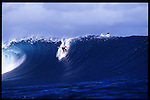 MAY 2000    -  Teahupoo, Tahiti   -  Mick Campbell is about to get so tubed at the worlds heaviest left Teahupoo..Photo Credit: Andrew Kaufman ©2000, All rights reserved.