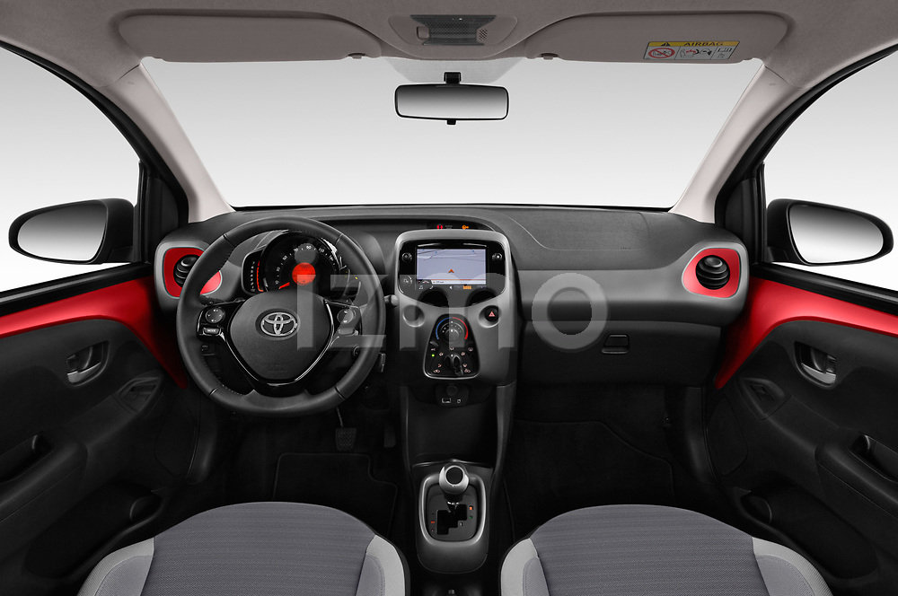 Stock photo of straight dashboard view of 2019 Toyota Aygo x-Play 5 Door Hatchback Dashboard